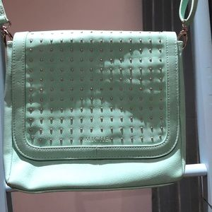 Miche cross body teal studded purse